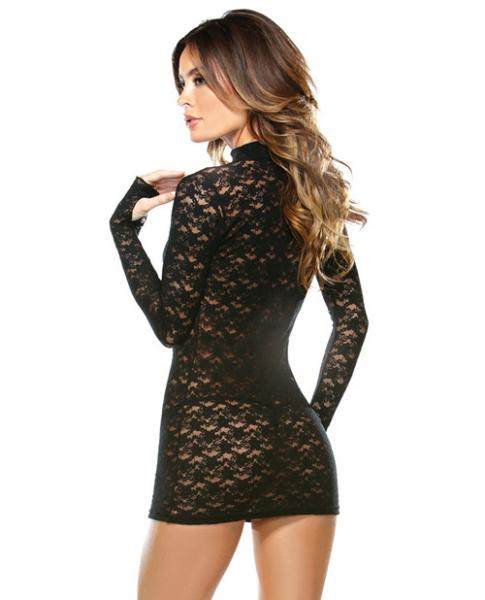 Collared Lace Dress with G-String Black O/S