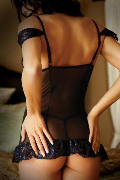 Bewitching Chemise & G-String Black Blue O/S