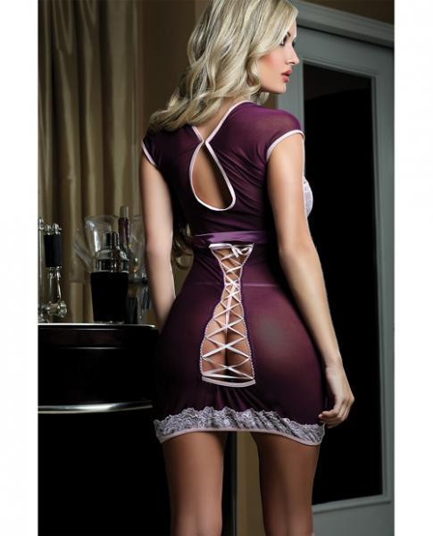 Sheer Seductive Dress Lace Trim & Peek A Boo Ribbon & Thong Grape O/S