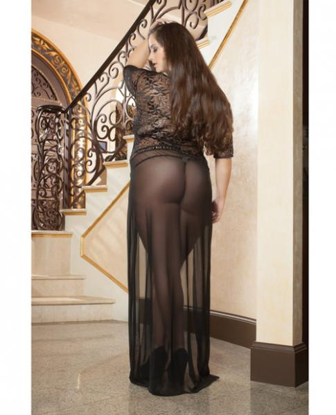 Sheer Lace Gown Double Front Slit & Thong Black 3X/4X
