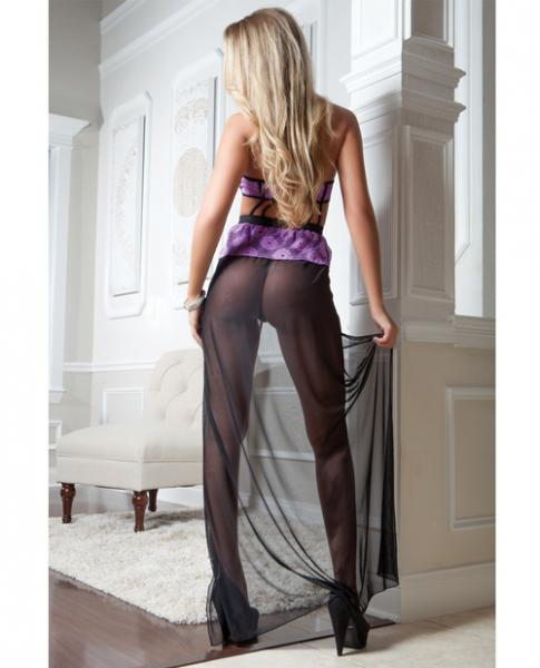 Strappy Mesh Gown Overlay Lace & Thong Retro Violet O/S