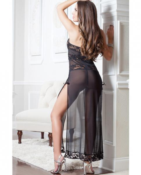 Lace Mesh Gown Lace-Up Front & Thong Black O/S