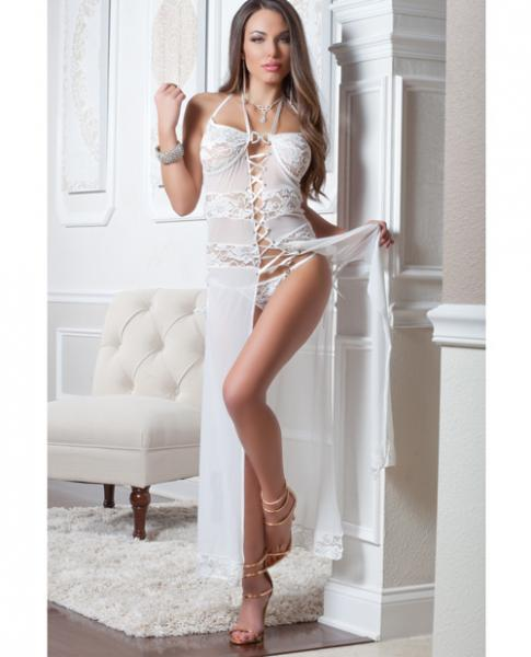 Lace Mesh Gown Lace-Up Front & Thong Porcelain O/S