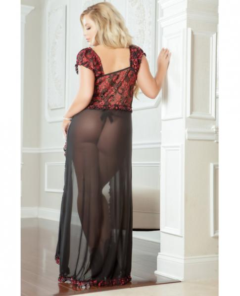 Flirty Front Open Gown with Thong Ruby 1X/2X