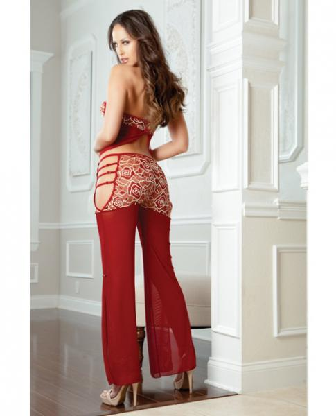 Open Side Pants & Halter Cami Top Wired Cups Maroon Red O/S