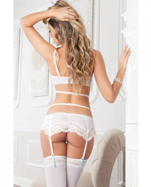 Bra Open Cups, Garter Strappy, Thong & Stockings White Blue O/S