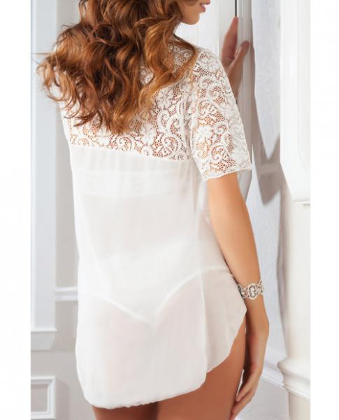 High Neck Lace Halter Teddy & Robe Pearl White O/S