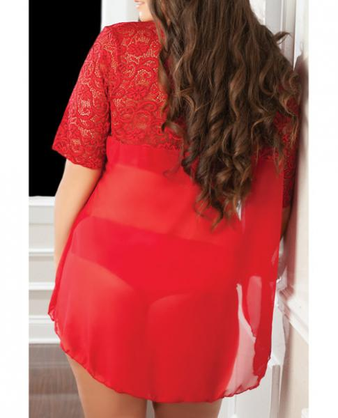 High Neck Lace Halter Teddy & Robe Red One Size Queen