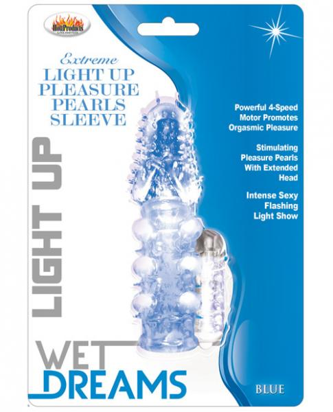 Pulsating Pearl Light Up Vibrating Pleasure Sleeve - Blue