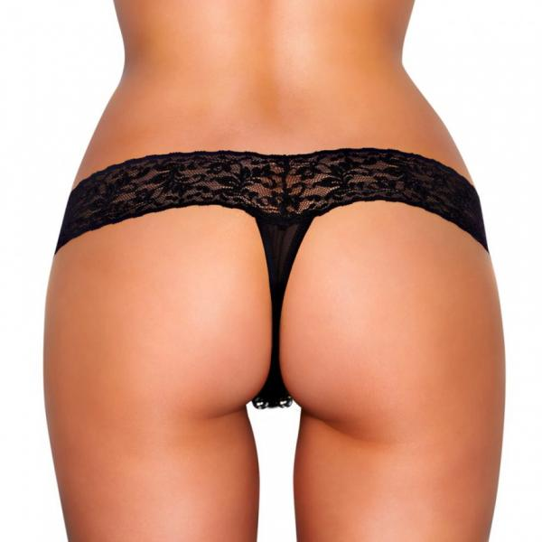Crotchless Vibrating Lace Panties Beads Black M/L