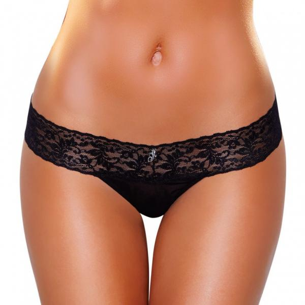 Vibrating Lace Thong Hidden Pocket Black M/L