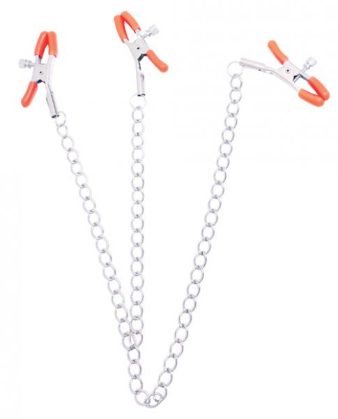 Triple Your Pleasure Nipple & Clitoral Clamps Chain