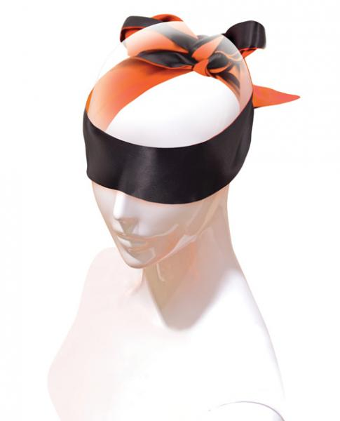 Orange Is The New Black Satin Sash Reversible Blindfold Black Orange