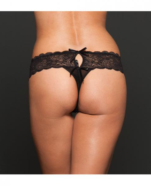 Open Crotch Mesh Thong Black Queen Size