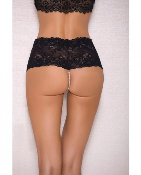 Lace, Pearl Boyshorts Satin Bow Accents Black L/XL