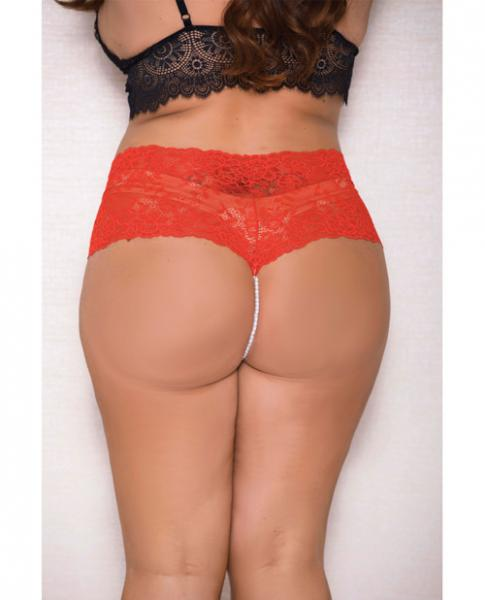Lace, Pearl Boyshorts Satin Bow Accents Red 1X/2X