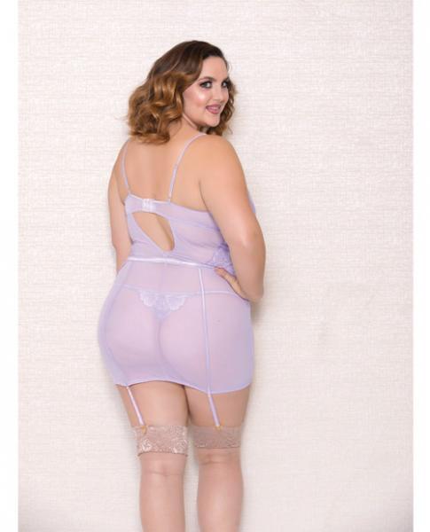Lace, Mesh Chemise, Garter & G-String Lavender 3X