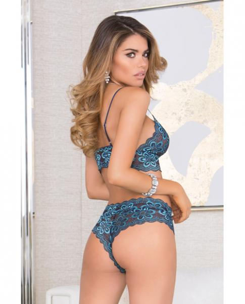 Lace Bralette Adjustable Straps & Panty Blue Medium