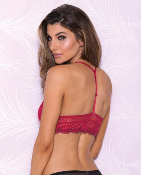Lace Bralette Mesh Lining, Adjustable Straps Red Lg
