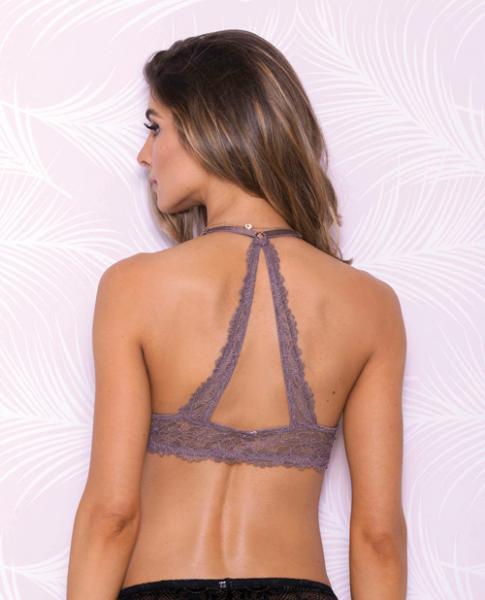 Lace Bralette Mesh Lining Crossback & Adjustable Straps Mauve Lg