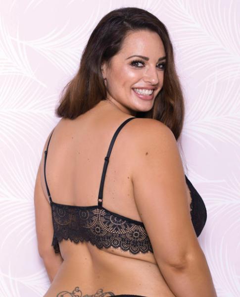 Lace Bralette Adjustable Shoulder Strap Black 2X