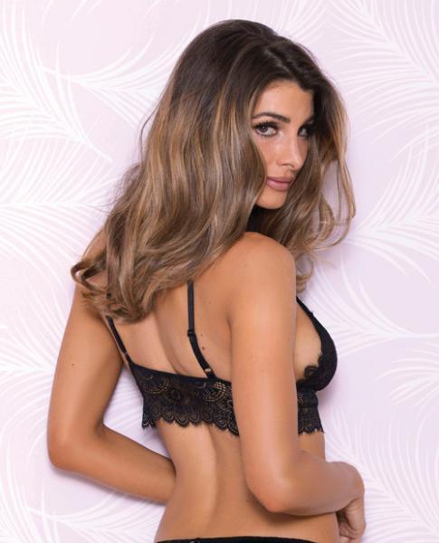 Lace Bralette Adjustable Shoulder Strap Black Sm