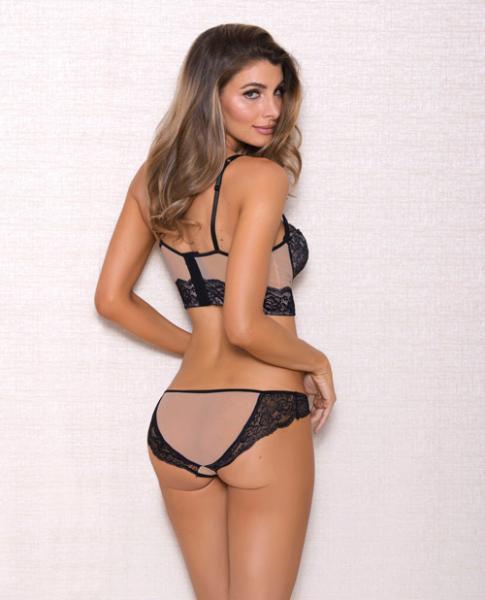 Mesh Multi Strap Lace Bra & Panty Nude Black Lg