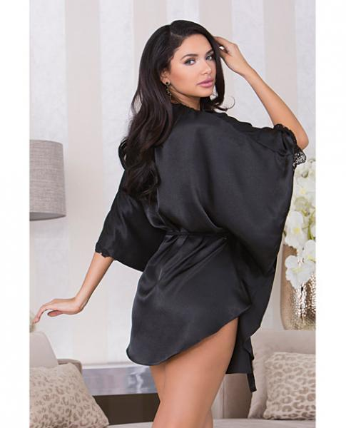 Holiday Flutter Sleeve Satin Robe Sash & Trim Black XL
