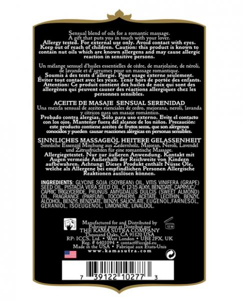 Kama Sutra Aromatics Massage Oil Serenity 2oz