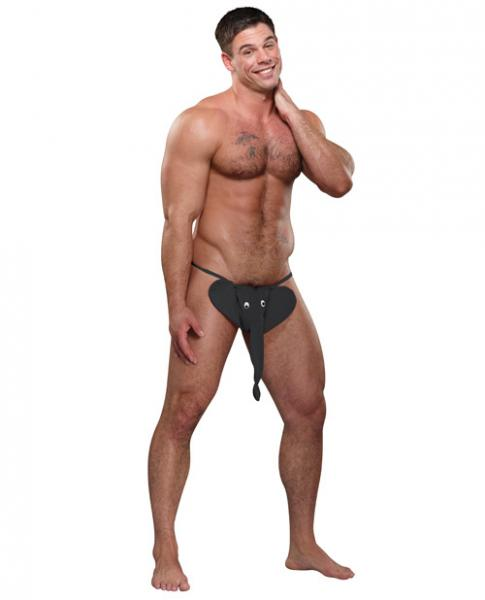 Male Power Squeaker Elephant G-String Black