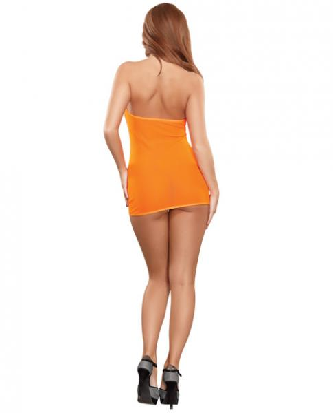 Club Seamless Neon Tube Dress & G-String Orange O/S