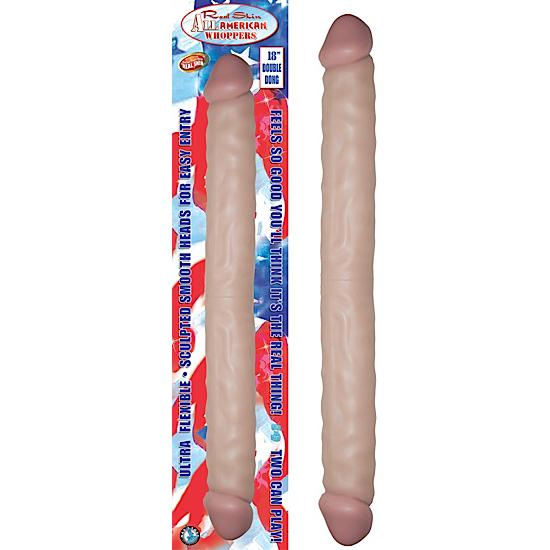 "Real Skin All American Whoppers Double Dong 18"" - Beige"