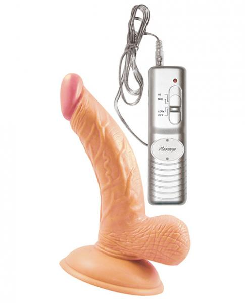 All American Mini Whoppers Vibrating 5 inches Curved Dong Beige