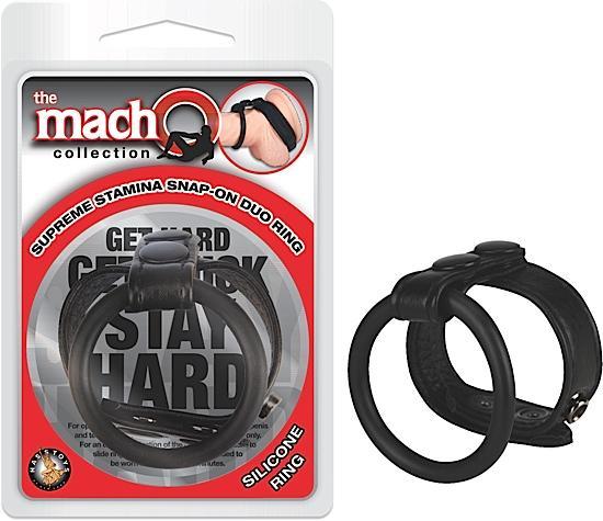 Macho Supreme Stamina Snap On Duo Ring Black
