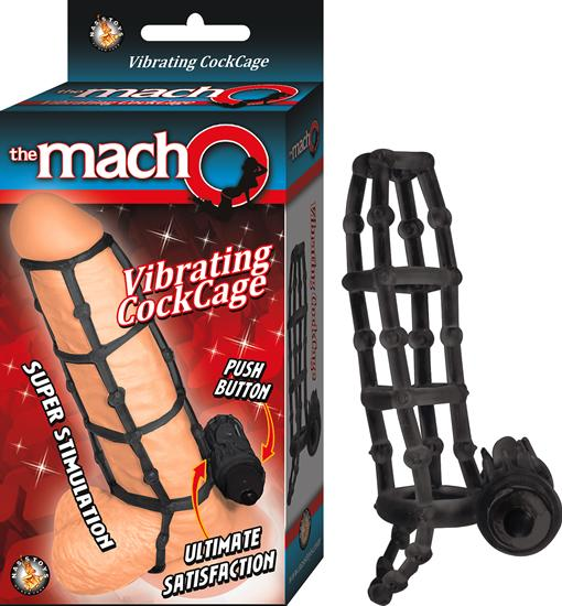 Macho Vibrating Cock Cage Black