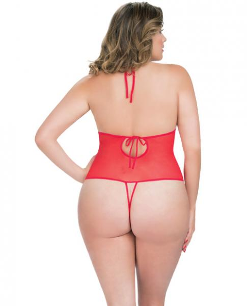 Crotchless Lace Teddy Rhinestone Detail Red Qn
