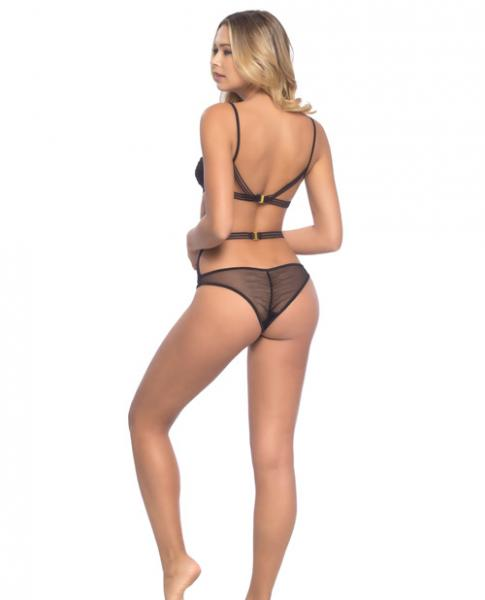 Strappy Elastic, Mesh Soft Cup Bra & Ruched Back Panty Black O/S