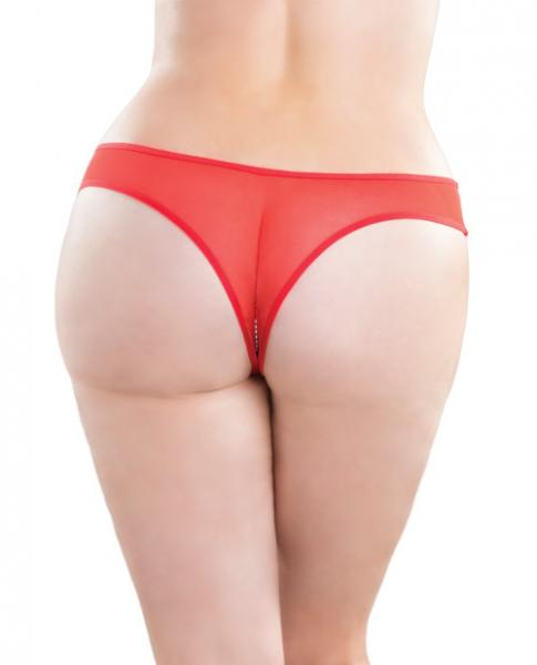 Crotchless Thong Panty with Pearls Red 1X/2X