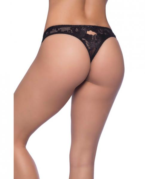 Josilyn Lace Thong Scalloped Edge Keyholes Black 4X