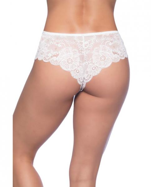 Suzette Soft Textured Lace High Leg Tanga White XL