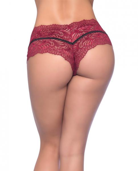 Odette Soft Lace Boyshorts Decorative Elastic Red Black 2X