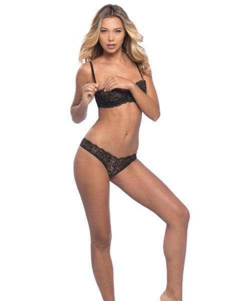 Kamille Off The Shoulder Lace Bra, Panty & Choker Black Gold Lg