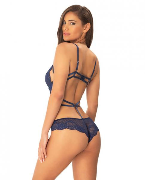 Ariele Geometric Lace Teddy Strap & Ring Blue Black L/XL