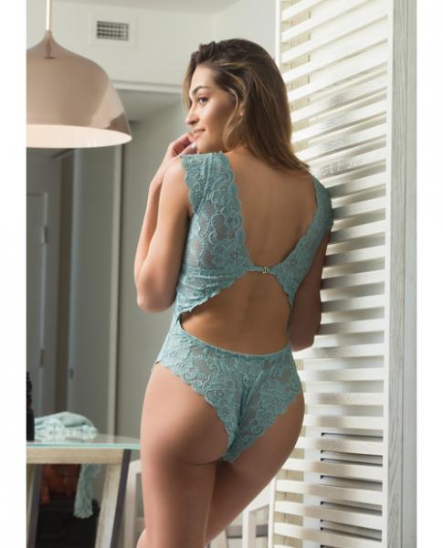 Suzette Lace Teddy Cap Sleeves & Removable Pads Dusty Turquoise Sm