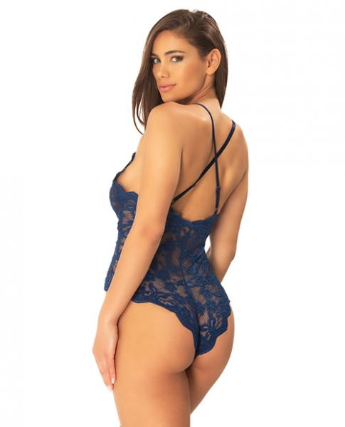 Cortney Floral Lace Romper Estate Blue L/XL
