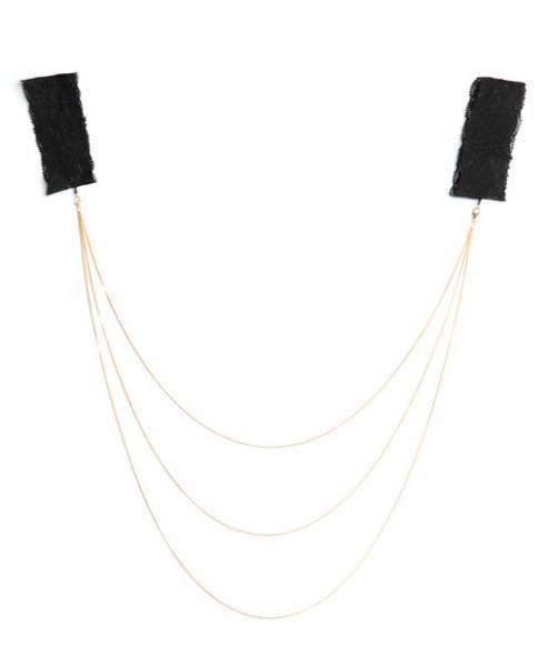Lace Arm Cuffs Gold Chain Detail Black Gold O/S
