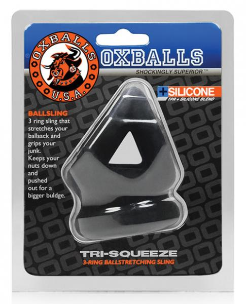 Oxballs Tri Squeeze Cocksling Ball Stretcher Black Ice