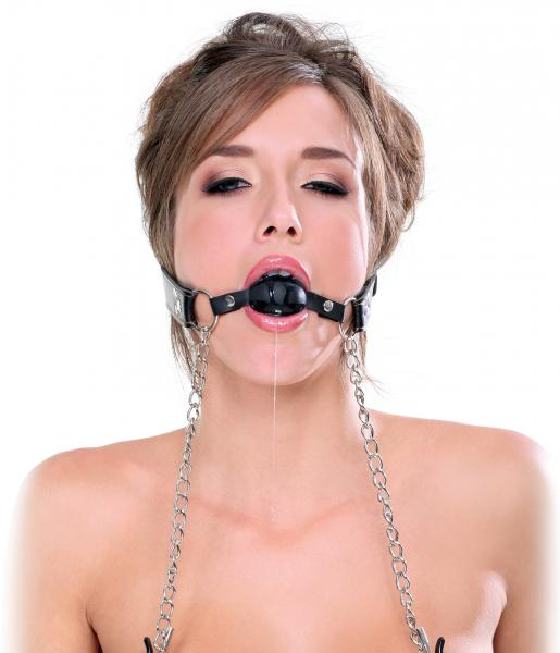 Deluxe Ball Gag And Nipple Clamps Black O/S