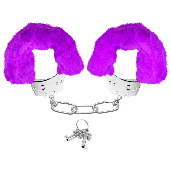 Neon Furry Cuffs Purple Handcuffs