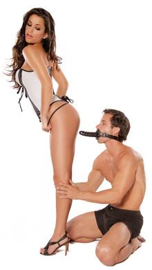 Deluxe Ball Gag With Dildo - Black
